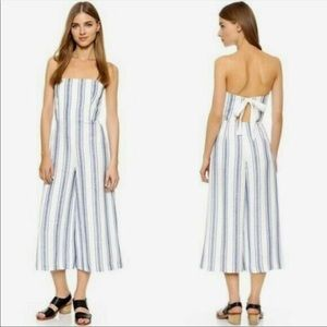 Clun Monaco Striped Wide Leg Strapless Jumpsuit